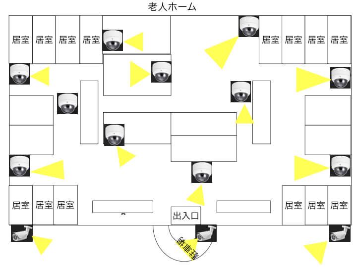 老人ホームのカメラ設置図