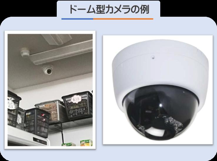 ドーム型カメラの例 ドーム型カメラが二つある